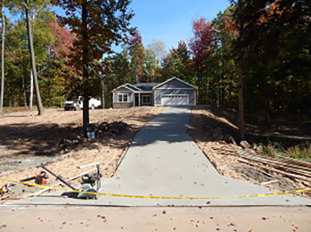 Concrete driveway poured.