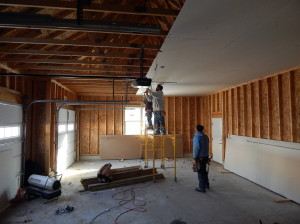Hanging the garage ceiling.