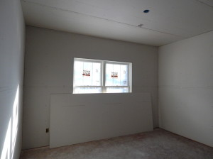 Drywall hung in one of the Bedrooms.