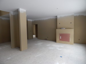 The Living Room. All Main Level walls have a first coat of paint.