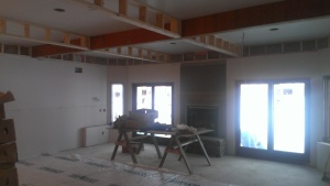 Lower Level Rec. Room with coffered ceiling detail.