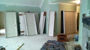 Interior door installation started today as well.