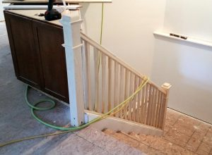 Stair railing installed.