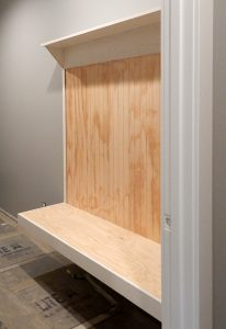 Built-in bench in the Mud Room.