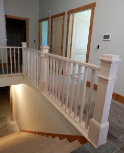 Stair rail, treads, and risers in.