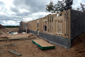 Walkout wall framing.